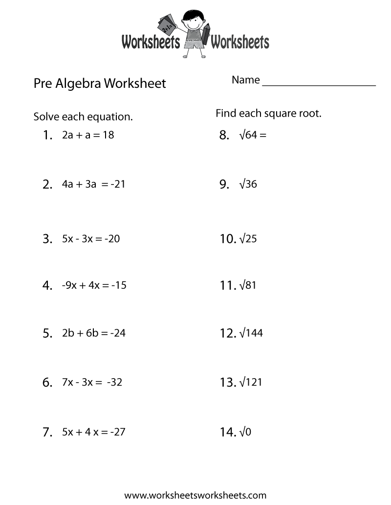 Pre-Algebra Practice Worksheet - Free Printable Educational Worksheet