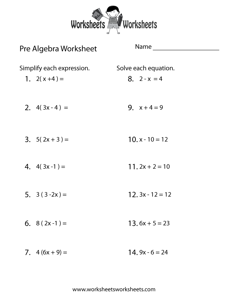 Pre-Algebra Review Worksheet Printable