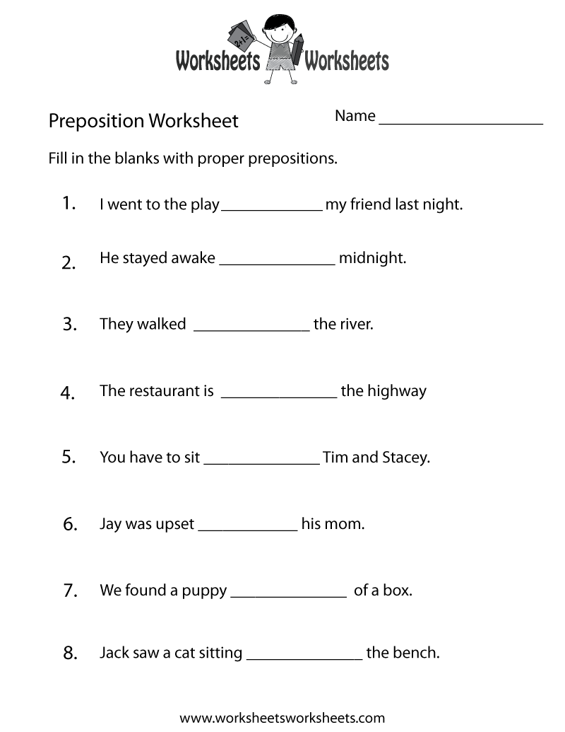 Preposition Test Worksheet Printable