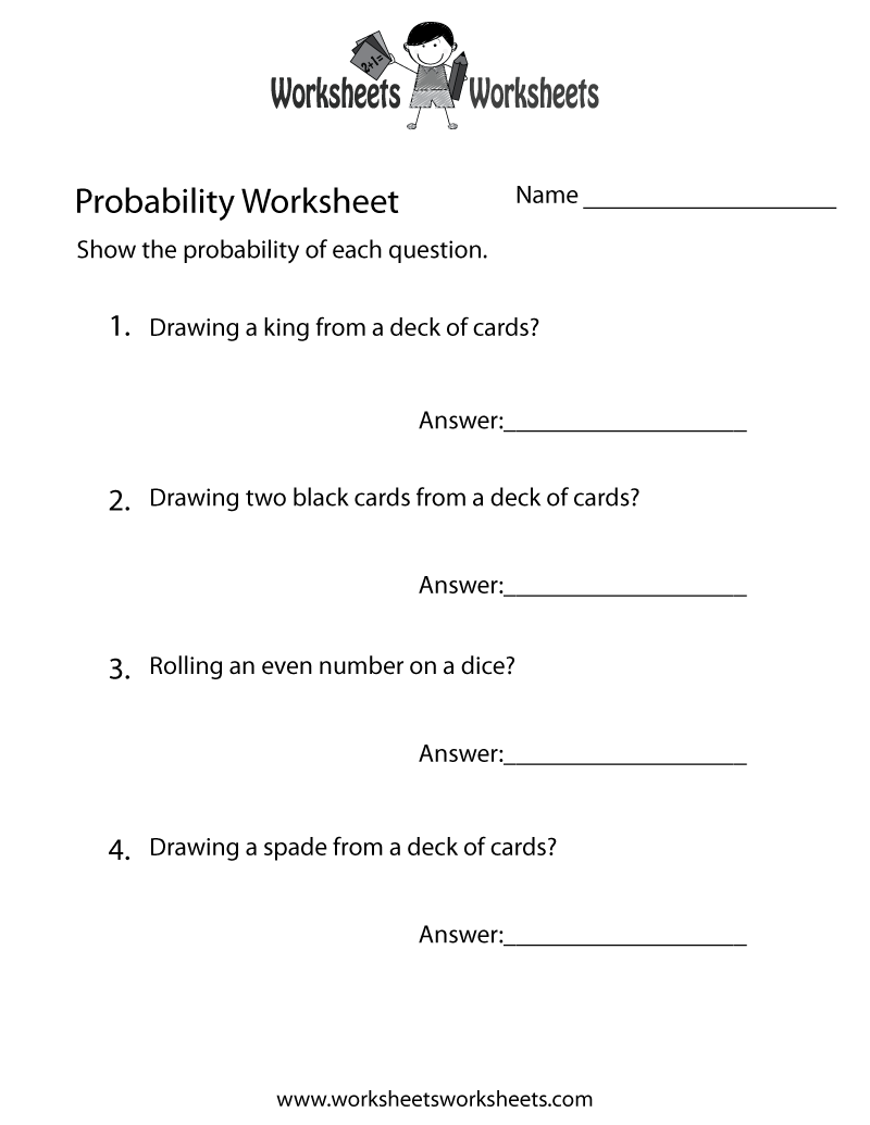 Simple Probability Worksheet Printable