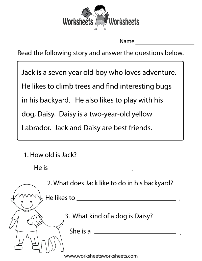Free printable 1st grade reading comprehension worksheets