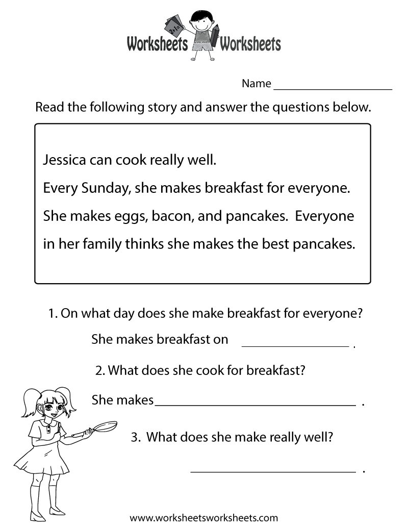 Worksheet Elementary Reading Comprehension Test reading comprehension test worksheet free printable educational printable