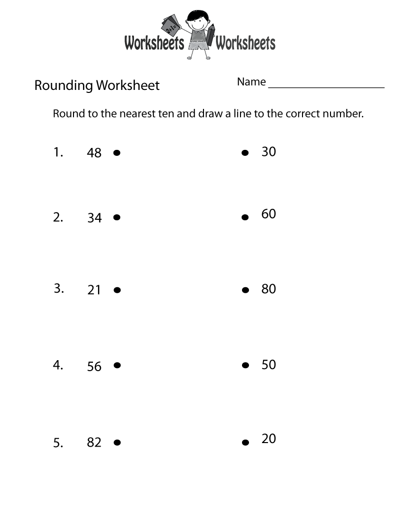 Rounding Whole Numbers Worksheet Printable