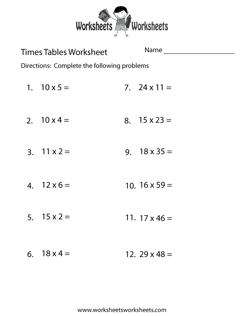 Fun Times Tables Worksheet Printable