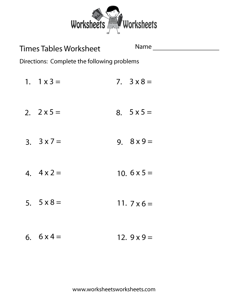 Times Tables Test Worksheet Printable