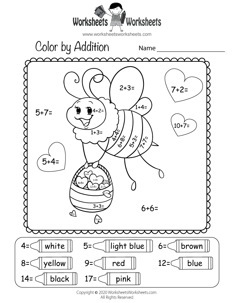 math worksheet : valentine s day addition worksheet  free printable educational  : Worksheet For Addition