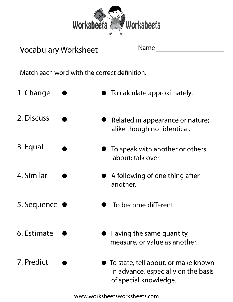 Vocabulary Building Worksheet Printable