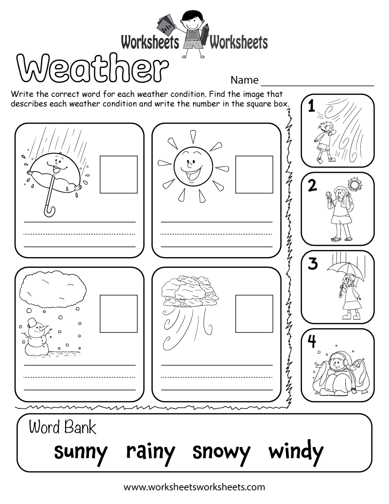 Weather Worksheet for Kids – Kindergarten Preposition Worksheets