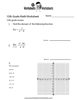 Twelfth Grade Math Practice Worksheet