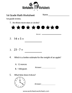 First Grade Math Practice Worksheet