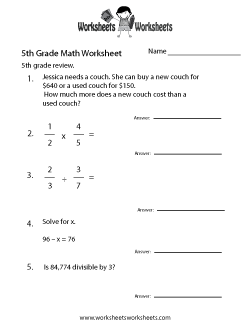 Th Grade Math Worksheets  Free Printable Worksheets For Teachers   Fifth Grade Math Practice Worksheet