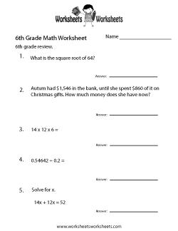 Sixth Grade Math Practice Worksheet