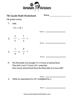 Seventh Grade Math Practice Worksheet