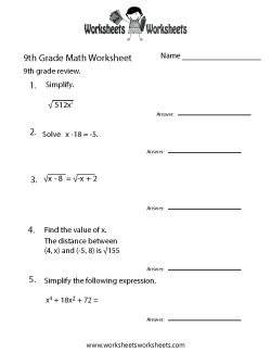 Th Grade Math Worksheets  Free Printable Worksheets For Teachers   Ninth Grade Math Practice Worksheet