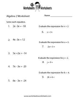 Algebra 2 Review Worksheet