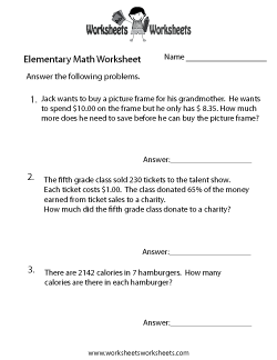 Elementary Math Word Problems Worksheet