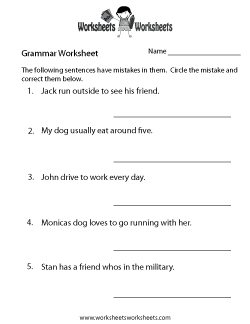 Grammar Practice Worksheet