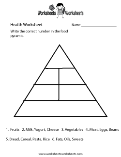Food Pyramid Health Worksheet
