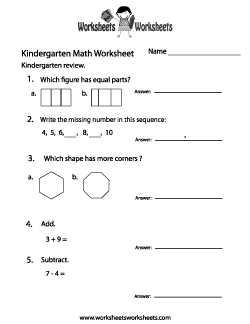 Kindergarten Math Practice Worksheet