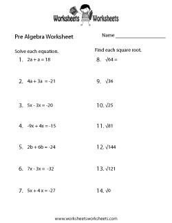Pre-Algebra Practice Worksheet