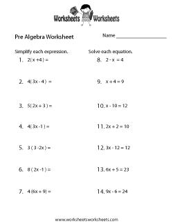 Pre-Algebra Review Worksheet
