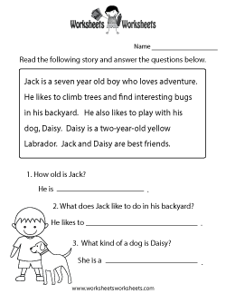 Reading Comprehension Worksheets - Free Printable Worksheets ...