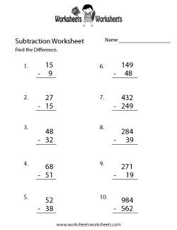Subtraction Problems Worksheet