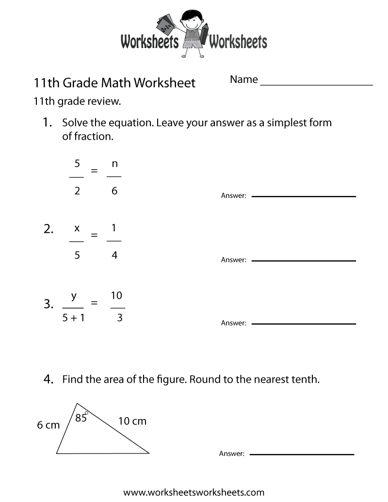 11th Grade Math Review Worksheet Printable