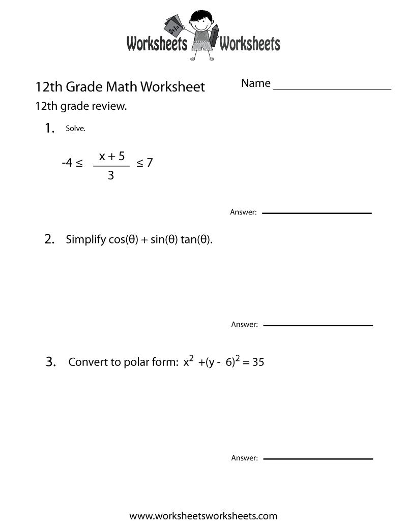 12th Grade Math Review Worksheet Printable