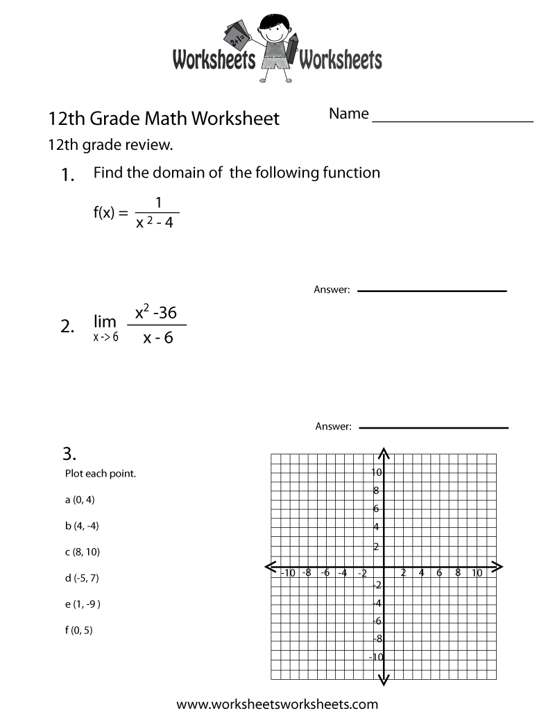 Twelfth Grade Math Practice Worksheet Printable