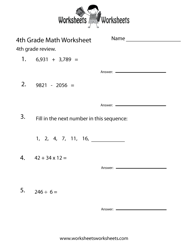 4th Grade Math Review Worksheet Printable