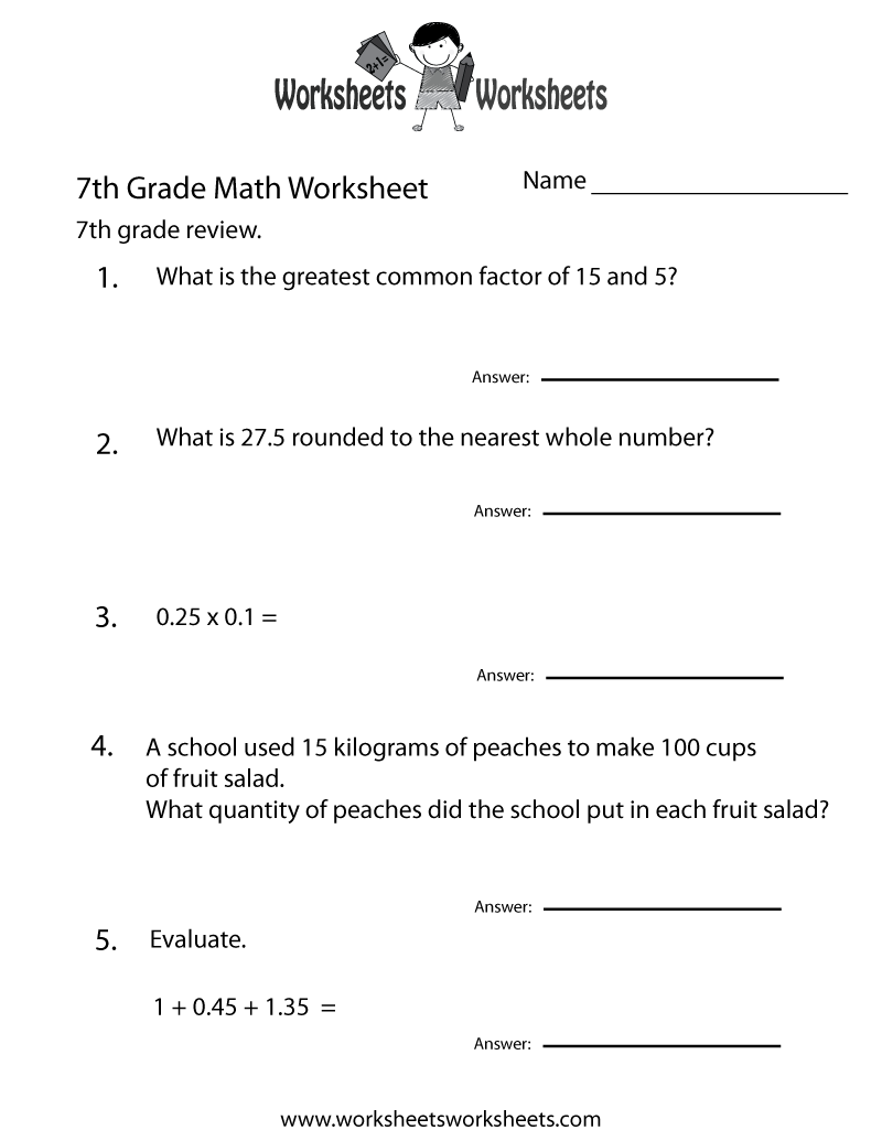 7th Grade Math Review Worksheet Printable
