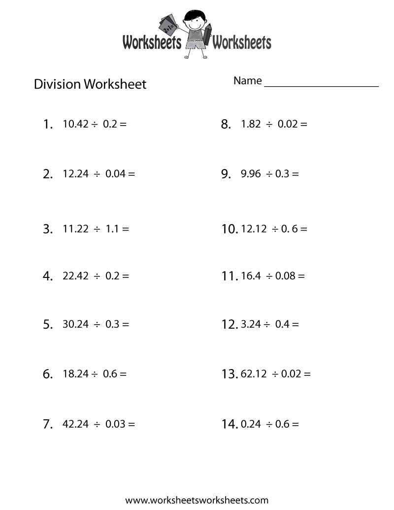 Decimal Division Worksheet Printable
