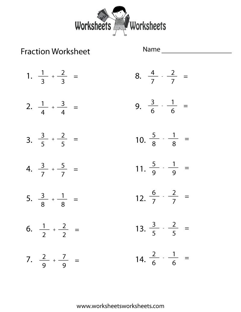 Workbooks mixed numbers worksheets : Fraction Practice Worksheet - Free Printable Educational Worksheet