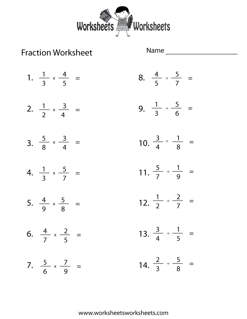 Fraction Review Worksheet Printable