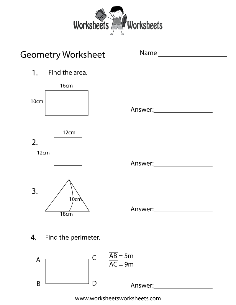 Geometry Review Worksheet Printable