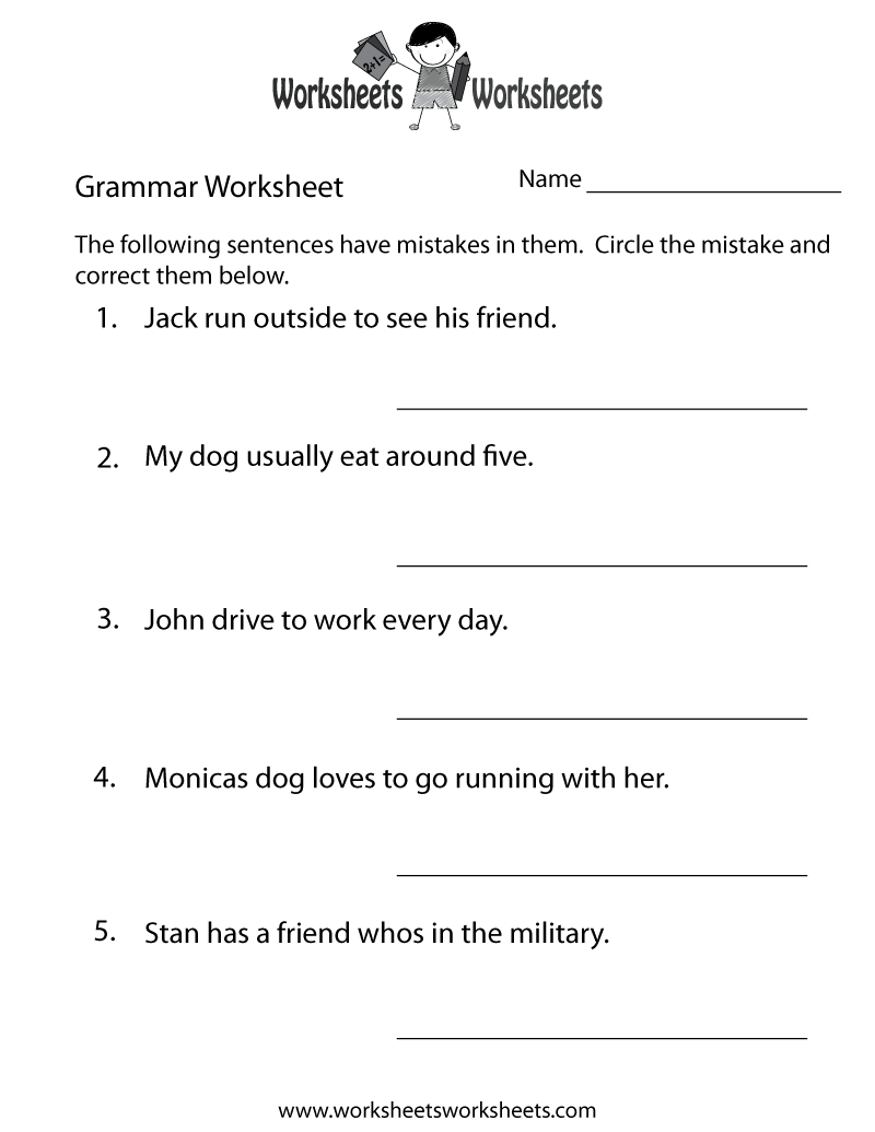 This is a picture of Current Printable Grammar Worksheet
