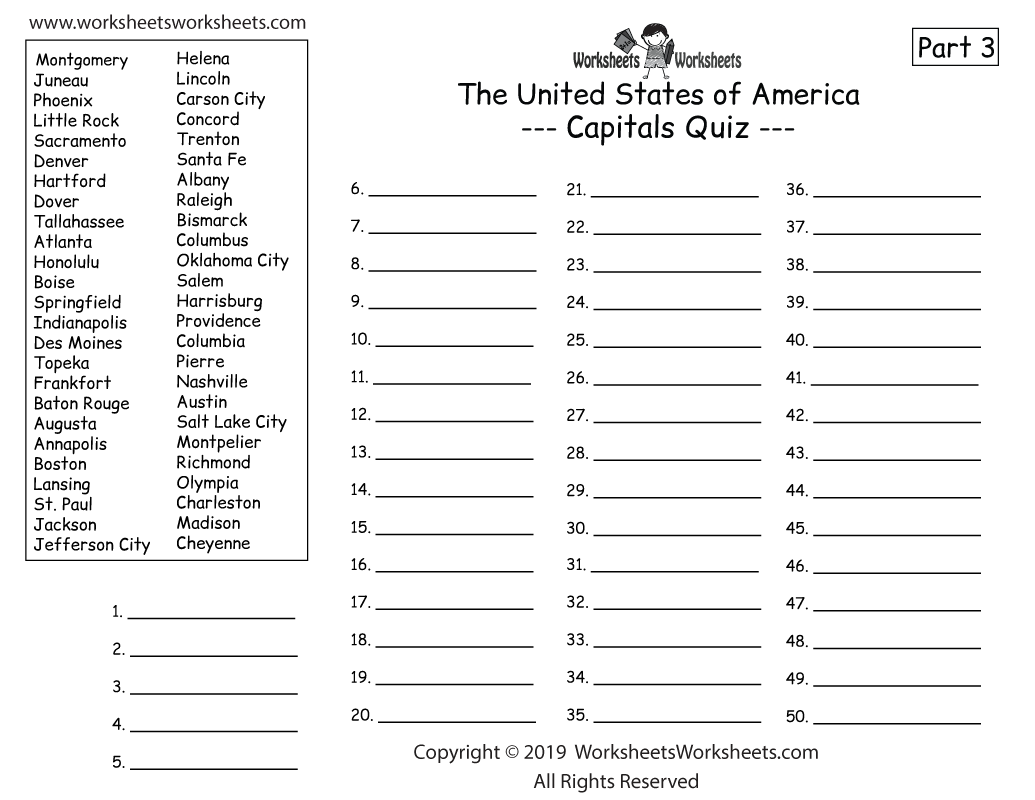 U.S. Geography Quiz Part 3 - Write All 50 State Capitals - Printable Worksheet