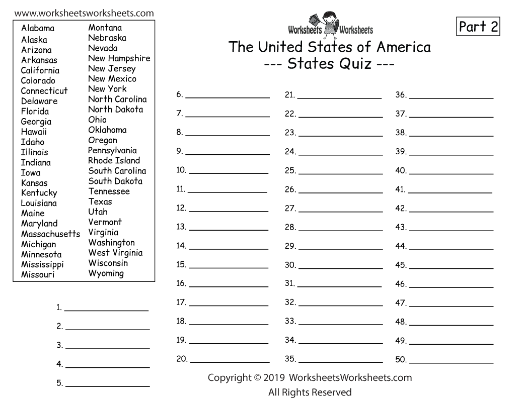 U.S. Geography Quiz Part 2 - Write All 50 States - Printable Worksheet