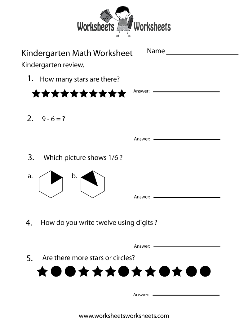 Kindergarten Math Review Worksheet - Free Printable ...
