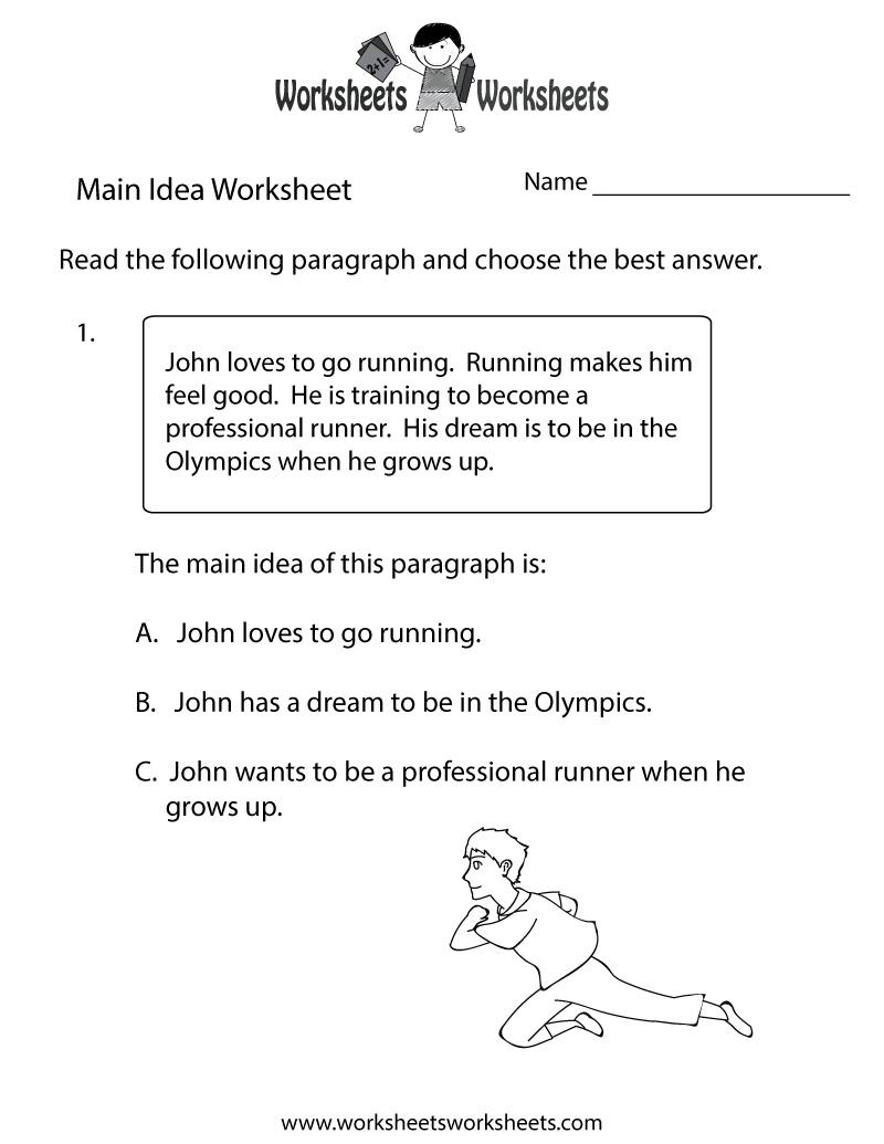 Main Idea Practice Worksheet Printable