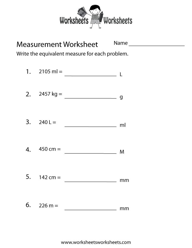 Measurement Conversion Worksheet Free Printable