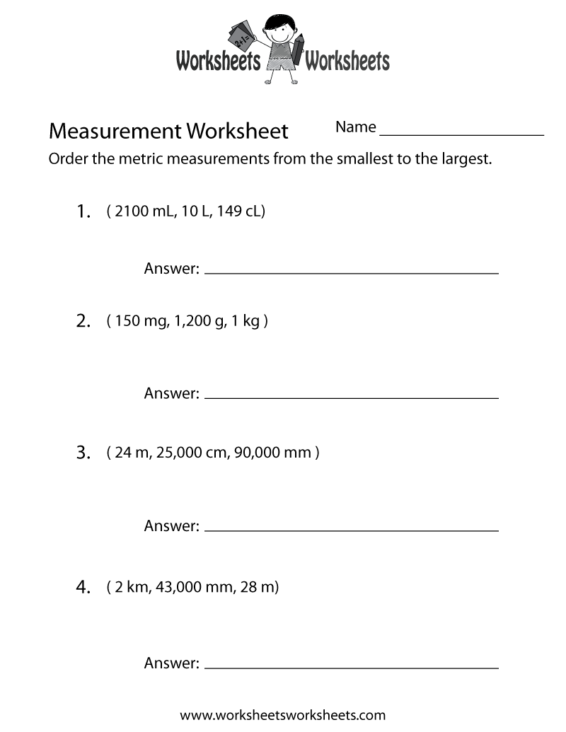 Metric Measurement Worksheet Printable