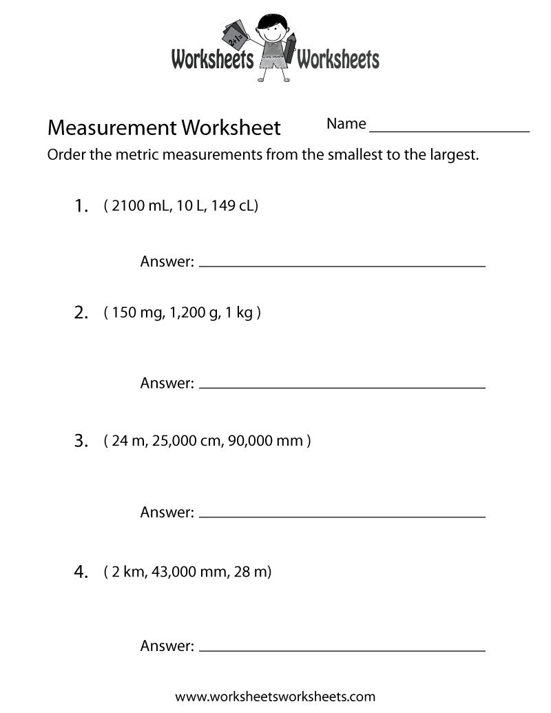 Metric Measurement Worksheet - Free Printable Educational Worksheet