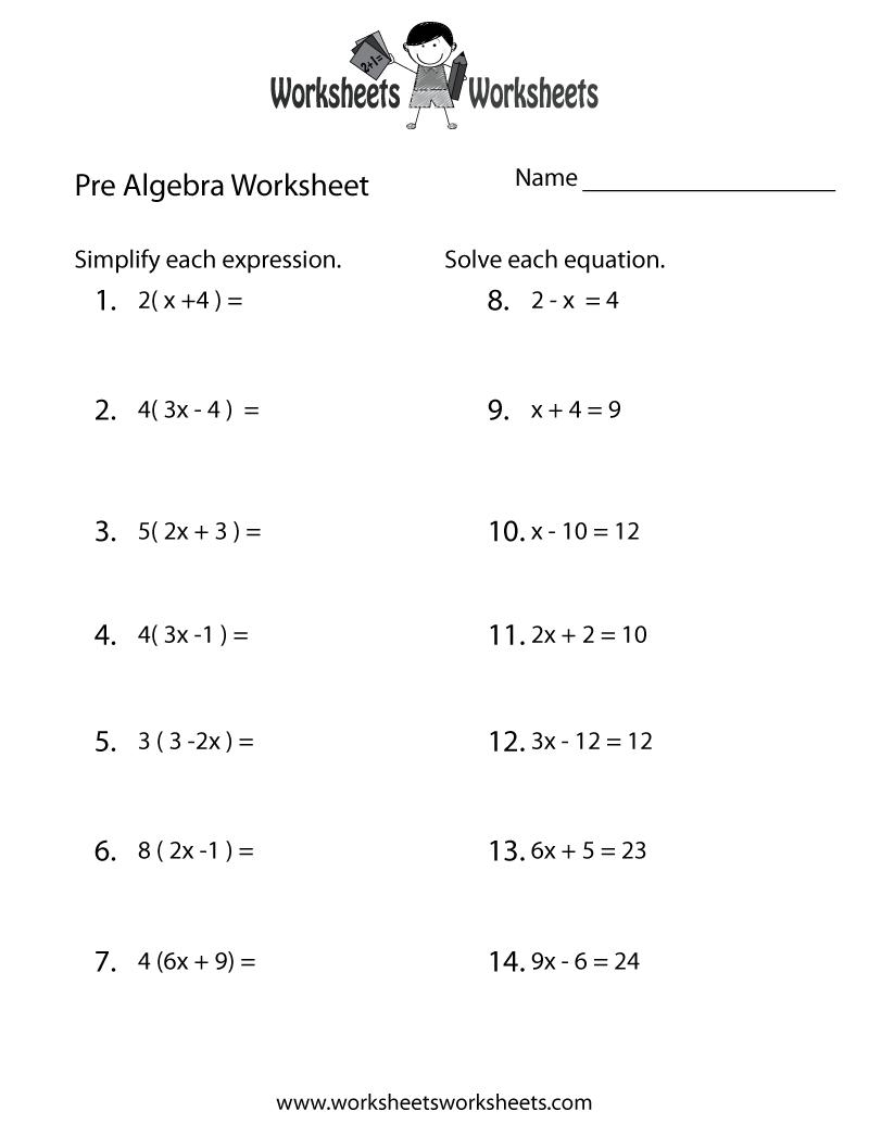 Pre-Algebra Review Worksheet Printable