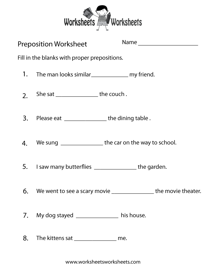 Preposition Practice Worksheet Printable