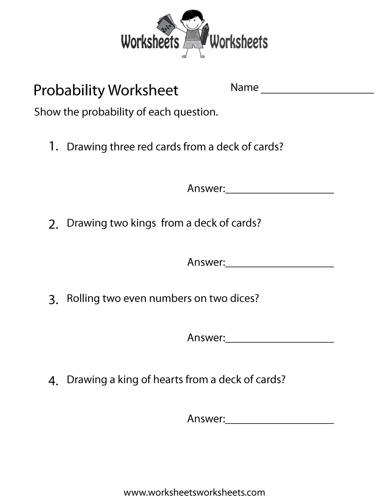 probability practice worksheet free printable educational worksheet. Black Bedroom Furniture Sets. Home Design Ideas