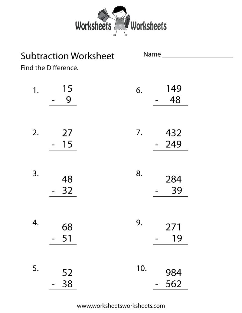 - Free Printable Subtraction Problems Worksheet
