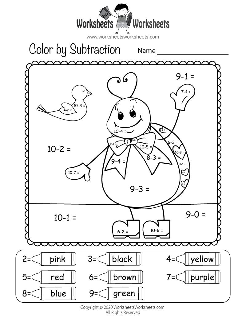 valentine 39 s day subtraction worksheet free printable. Black Bedroom Furniture Sets. Home Design Ideas