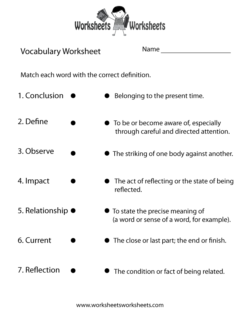 English Vocabulary Worksheet Printable